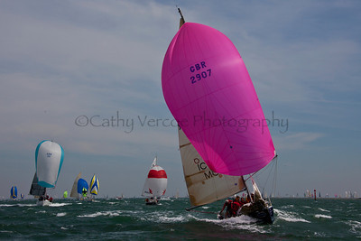Icom Cool Blue Sailing At The 2012 Aberdeen Asset Management Cowes Sailing Week. Cathy Vercoe LuvMyBoat.com