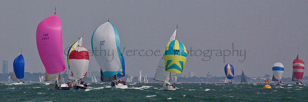 Icom Cool Blue, Frank, Simplicity, Hubble Bubble Sailing At The 2012 Aberdeen Asset Management Cowes Sailing Week. Cathy Vercoe LuvMyBoat.com