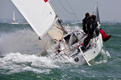 A J/80 Sailing At The 2012 Aberdeen Asset Management Cowes Sailing Week. Cathy Vercoe LuvMyBoat.com