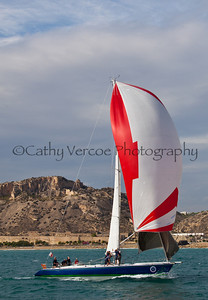 Sailing at the 2011 Legends Regatta at Alicante, Spain. All the yachts racing in this event had competed in previous Whitbread Around the World Yacht races or Volvo Ocean races. Cathy Vercoe LuvMyBoat.com
