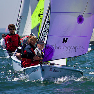 Racing at the 2012 RS Feva World Championship Yacht Race Regatta held at Hayling Island in the UK. Cathy Vercoe LuvMyBoat.com