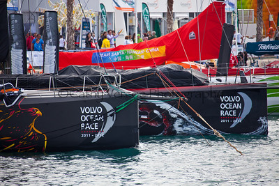 Team Telefonica, Camper Emirates Team New Zealand, Puma Ocean Racing, Team Sanya, Abu Dhabi Ocean Racing and Groupama 4 sailing at the start of the 2011  - 2012 Volvo Ocean Race at Alicante in Spain. Cathy Vercoe LuvMyBoat.com