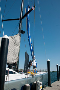 Craning sails from the locker
