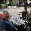 Coffee, Milson Point, and handy to the slipway. Gary, Mick, Tim and Peter.<br /> (At this point, Mrs Poppets knocked on the door to know if we were ready for lunch. We smiled sadly at one another, and said we supposed we had better try to swallow a bit.)