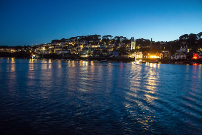 Night reflections across Fowey harbour