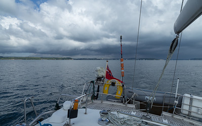 Sailing from Falmouth in ominous summer skies