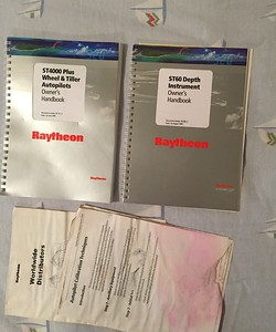 Owner's manuals for Raytheon ST 4000 Autopilot  & ST 60 Depth instrument installed on the Nav Pod at the helming station