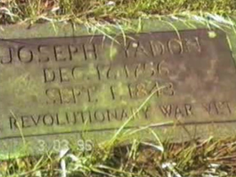 Yadon Cemetery - Maynardville, Tennessee<br /> <br /> Video Archive Clip 1996 (3) - Yaden, Dan & Julie - Visit to Yadon Cemetery - Maynardville, TN - Jacob (Age 11), Steven (Age 7), Alex (Age 5) - Mixed Relations Series (6 min 51 sec)<br /> <br /> Note:<br /> <br /> Sometime in the early 1800's Joseph Yadon moved his family to Grainger County, Tennessee. They settled on a farm near Acuff. Joseph and Mary (Pennybaker) spent the rest of their lives on the 'Old Yadon Farm.' Both are buried in the Yadon Cemetery, located on this farm, six miles northeast of Maynardville, Tennessee. <br /> <br /> After 56 years of marriage, Mary died on September 8, 1838 (age 74) and Joseph on September 1, 1843 (age 86). The marker on Joseph's grave was placed by the Daughters of the American Revolution. There is a fieldstone beside Joseph's marker that is thought to be the headstone for Mary.