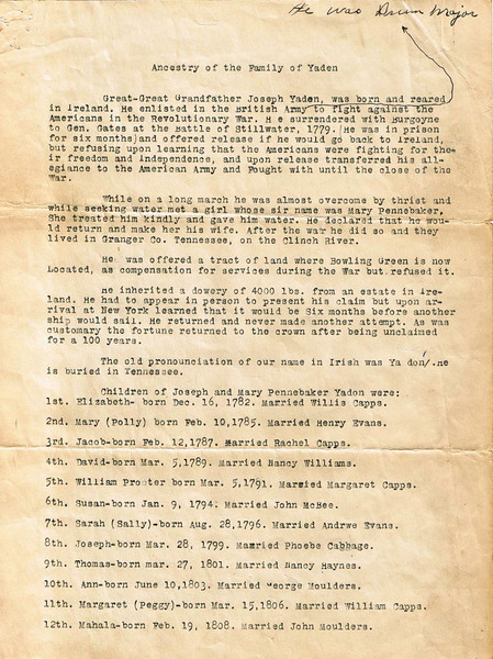 History of first three generations of the Yadon (en) family in America.  The document was sent in May of 1938 to David William Yaden of Yakima, WA by Mrs. M.A. (Yadon) Fentress of Fort Smith, AR - Page 1
