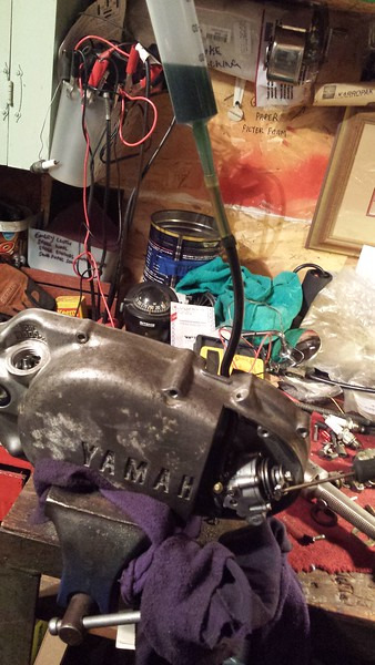 Testing the oil pump, built from parts from the three bikes, plus my 1974 DT360 parts bike.