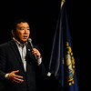 KRISTOPHER RADDER — BRATTLEBORO REFORMER<br /> Democratic presidential candidate and entrepreneur Andrew Yang holds a town hall at the Colonial Theatre, in Keene, N.H., on Wednesday, Feb. 5, 2020.