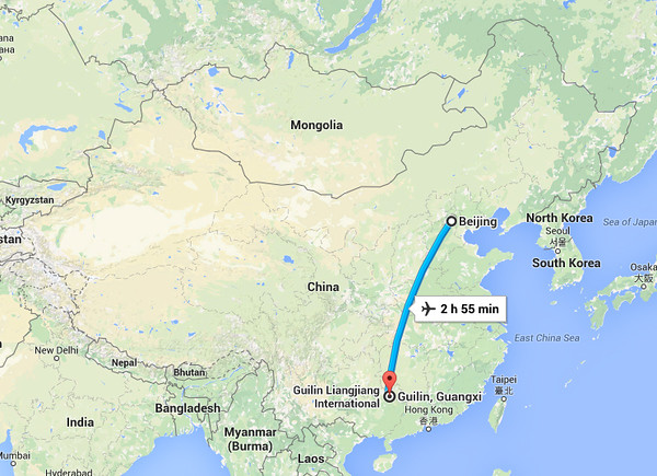 It is about a 3 hour plane ride from Beijing to Guilin.
