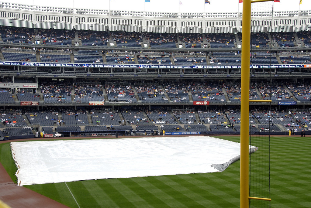 This is what the field looked like at the scheduled game time.  It was overcasting and still missing, after raining for hours. I thought the game would not get started.