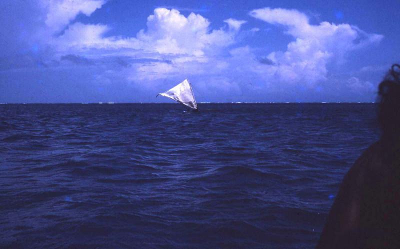 """Susan:  """"Sailing day on Ifalik:  small canoe capsizing."""""""