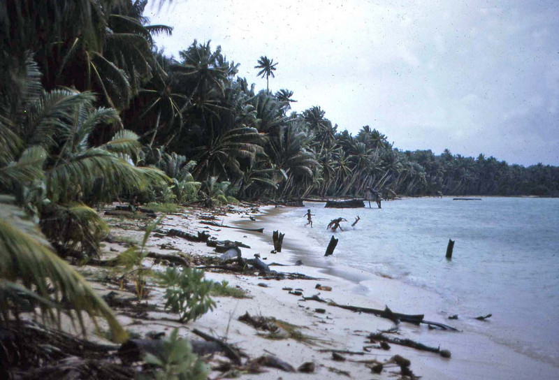 "Susan:  ""The beach was littered with debris after a storm we had while I was on Ifalik.  All of the women and children were taken to the highest building on the atoll, where we stayed all night.  This was the storm that interrupted Nixon's trip to the Philippines.  I read about it later when I got back to Yap and got my mail."""