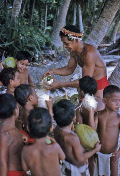 "Head Start picnic on Ifalik:  Mairal husking coconuts.  Mairal was from Falalop, Woleai.<br /> <br /> Susan:  ""Once we got to the small island (forgive me, I do not remember the name) for our Head Start field trip, we had to have something to drink.  This was our second field trip.  The other was when a seaplane landed with four oceanographers studying the crown-of-thorns starfish.  I got a chance for all the kids to tour the plane  I could not get them to take us for a ride, though I did try."""