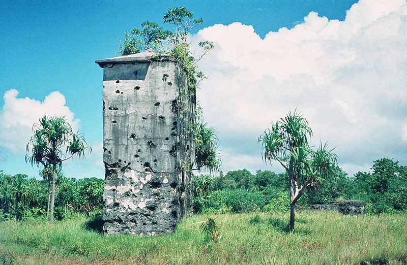 One of the World War II-pockmarked anchor columns for the old German cable station on Yap,