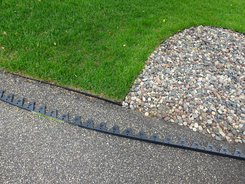 I did a two foot section along the driveway where new sod was planted.  The curve along the rocks was the same edging which had been scalped with the old style.