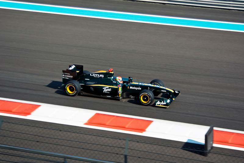 First photograph of a Formula One car - Car 18: Lotus Racing, Jarno Trulli 20th fastest in practice.