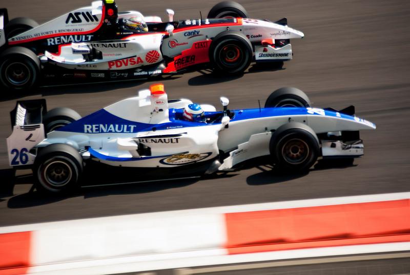 Car 15: Rapax, Pastor Maldonado overtaking Car 26: DPR, Michael Herck for 10th place. Herck finished 12th.