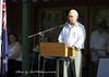 Aboriginal Elder Ken Bell welcomes the audience.