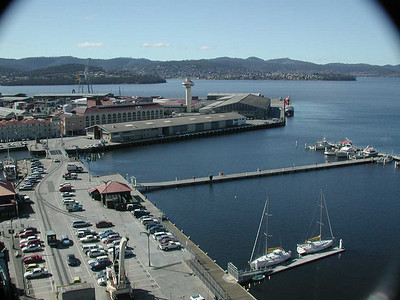 Hobart Port Control Tower on Macquarie wharf and Sullivans Cove