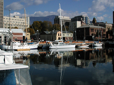 Adagio at Constitution Dock in downtown Hobart with Mt. Wellington in the distance