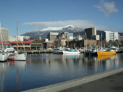 Snow on Mt. Wellington from Victoria Dock