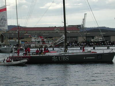 UBS, the all-women's team Volvo 60. Bad breaks - broken forestay off Mariah Is., rudder damage from shark collision.