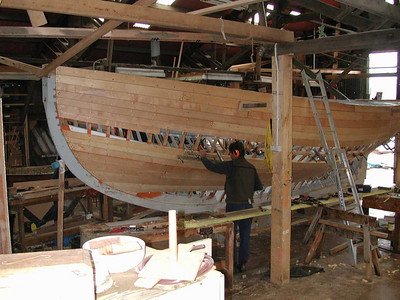 We drove down the Huon River and stopped briefly in Franklin to visit the Shipwright's Point School of Wooden Boatbuilding.