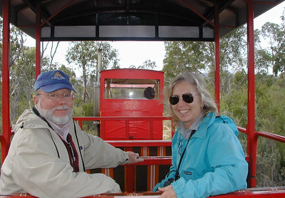 Dorothy and Steve found the Ida Bay railway a fun way to travel quickly through the bush and over the buttongrass plains.
