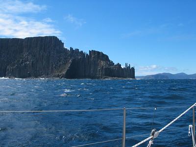 22 Nov, 2003: ADAGIO departs Tasmania for Nelson. We're crossing Storm Bay, Cape Raoul ahead.