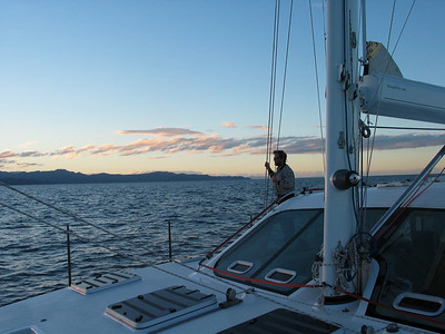Pete enjoying the sunset over Abel Tasman Park, New Zealand. 10 hours later we'll tie up at the Nelson NZ Customs dock at 2330. Another safe passage completed!