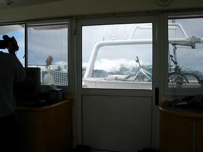 Crest break near ADAGIO's starboard quarter.
