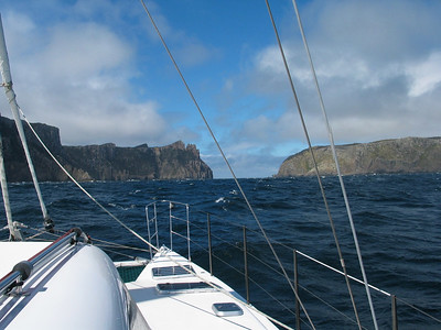 Our friend Peter Cook has joined us for the Tasman Sea passage. Here ADAGIO is approaching the passage between Cape Pillar and Tasman Island.