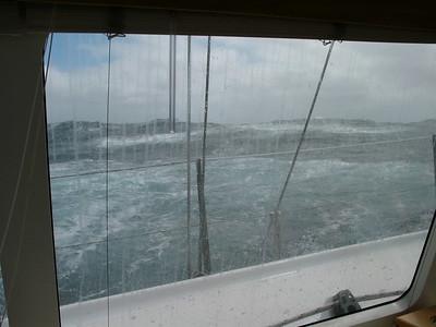 Foamy backs of crest-breaking waves.