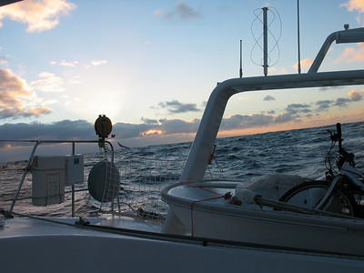 25 Nov, a smoother ride today, with sunset in the Tasman Sea.