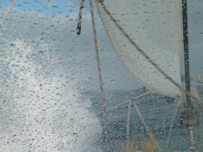 Wave splash on front window. There's a big low deep in the Southern Ocean sending a good swell at our starboard beam.