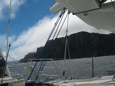 Passing Cape Pillar to port. With Pete aboard we're keen to go through the pass for the first time. Pete is a professional Captain, and has transited the pass countless times.