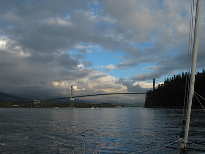 "Entering Vancouver Harbour, Lion's Gate Bridge across the ""First Narrows"""
