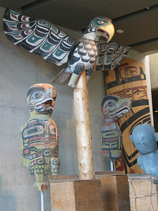 U of BC Museum of Anthropology - Kwakwaka'wakw totems in the Grand Hall