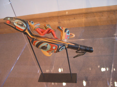 Carved wooden rattle at the Museum of Northern British Columbia, Prince Rupert