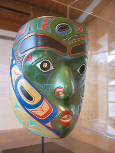 Modern carved wooden mask at the Museum of Northern British Columbia, Prince Rupert
