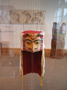 Headdress of wood, abalone shells, porcupine quills and ermine fur at the Museum of Northern British Columbia, Prince Rupert