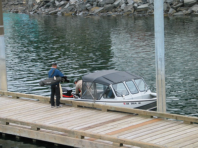Boating to the golf course in Wrangell, Alaska