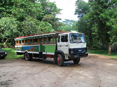 The school children painted their wooden school bus in Moorea, French Polynesia