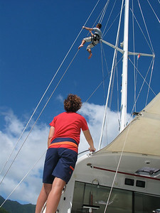 Vanessa hoists Callum up to inspect ADAGIO's rig before departure.