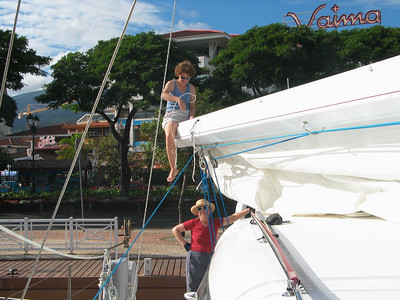 Vanessa Installing ADAGIO's repaired mainsail in Papeete, Tahiti