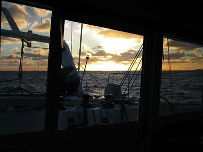View through our rear windows of sunset in the Southern Ocean