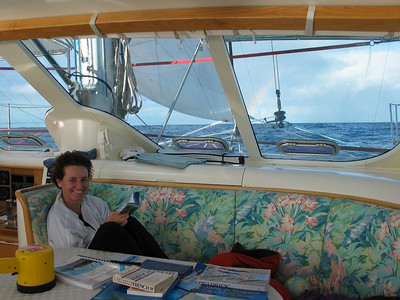 Vanessa polishes her French enroute to French Polynesia